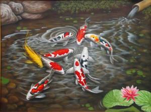 Lukisan Ikan Koi (1) Lia Gallery - Lukisan Natural