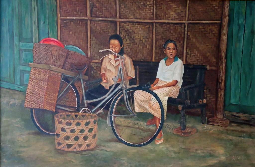Lukisan Duduk Santai - Lia Gallery - Natural