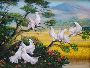 Lukisan Merpati Lia Gallery - Natural