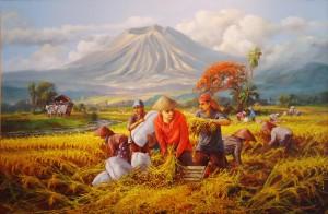 Lukisan Panen Raya Lia Gallery - Natural