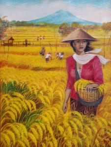 Lukisan Wanita & Panen - Lia Gallery - Natural