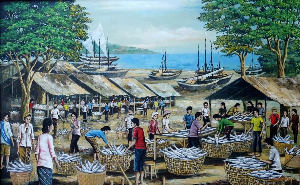 Lukisan Pasar Ikan- Lia Gallery - Natural