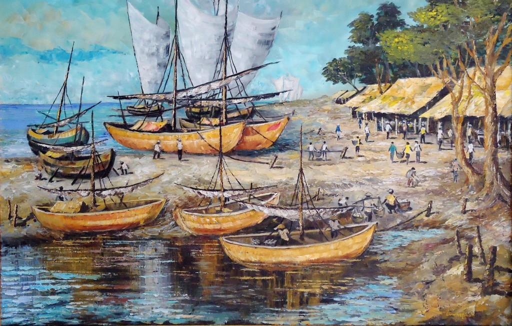 Lukisan Perahu - Lia Gallery - Natural