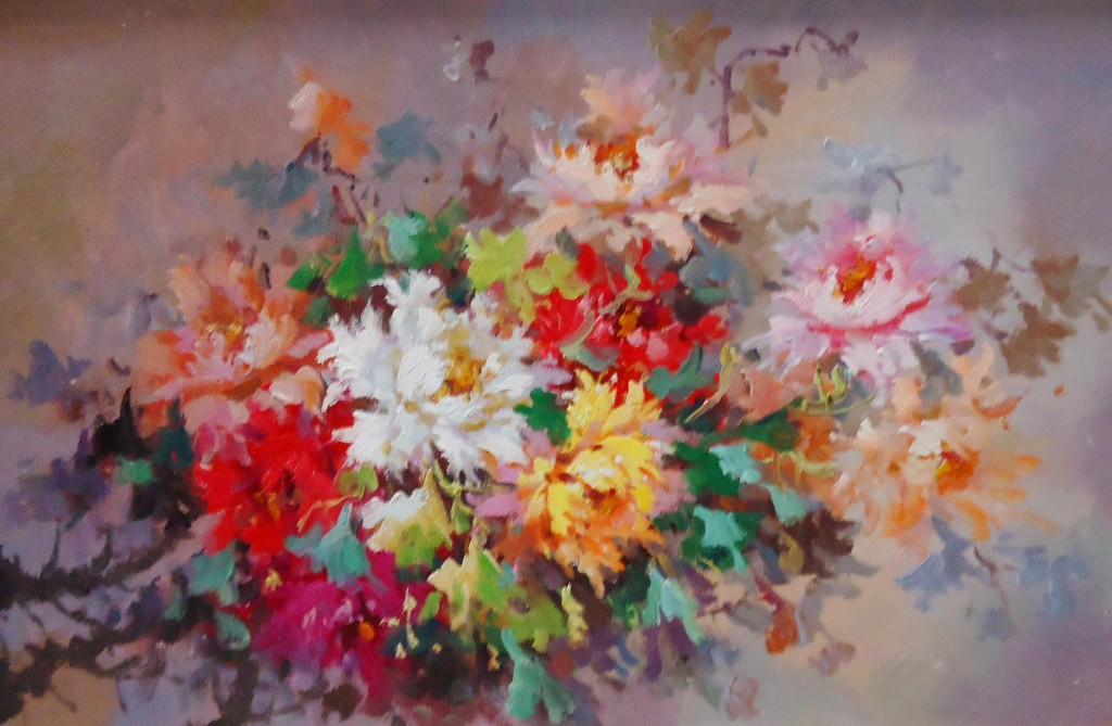 Lukisan Serangkai Bunga - Lia Gallery - Natural