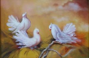 Lukisan Tiga Merpati- Lia Gallery - Natural