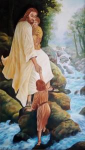 Lukisan Yesus Menolong - Lia Gallery - Natural