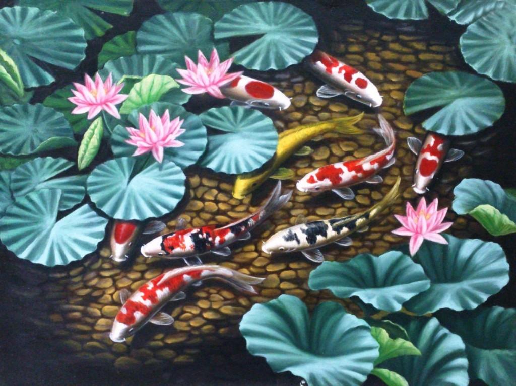 Lia Gallery | Lukisan 9 Ikan Koi