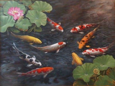 Lia Gallery | Lukisan Ikan Koi Soeyono New